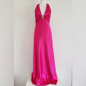 NEW! Cosmo pink long halter open back dress, sz L
